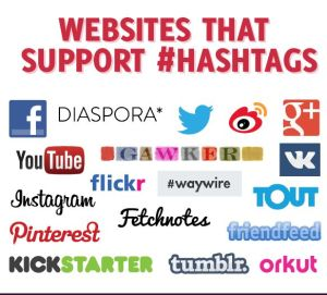 social media sites supporting hashtags